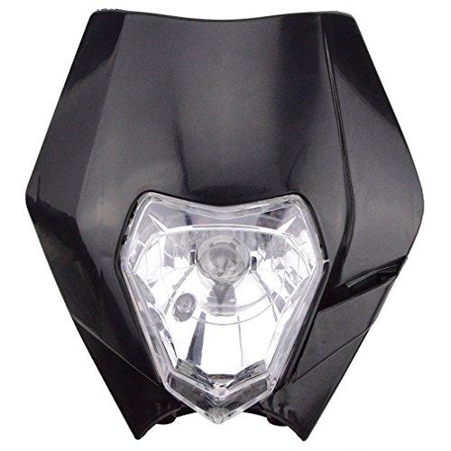 GOOFIT schwarz 12V 35W Scheinwerfer Frontscheinwerfer Lichtmaske mit Front Verkleidung für Motorrad Dirtbike Pocketbike Motocross Supermoto Supermoto Schwarz dit Pocketbike