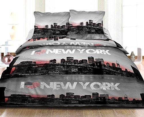 Funda nórdica de 220 x 240 cm y 2 Fundas de Almohada de algodón Puro de 57 Hilos, diseño de Nueva York