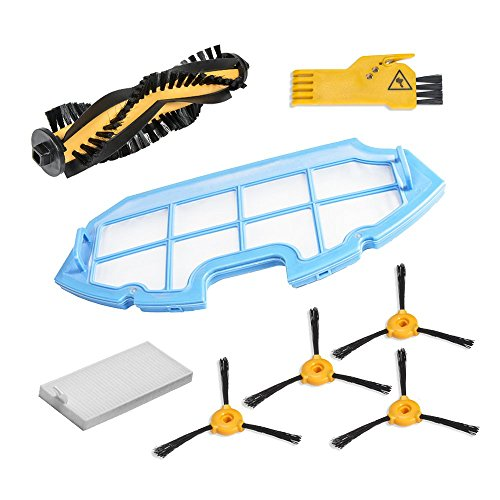 Cecotec Kit de Accesorios de Limpieza para Robots Aspiradores Conga Excellence. 4 Cepillos laterales,  1 Cepillo central,  1 Filtro EPA,  1 Filtro malla,  1 Cepillo de Limpieza