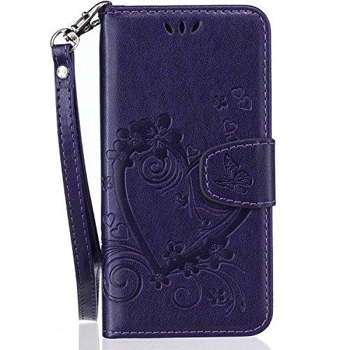 Sweau compatibel met iPhone 5/5s/SE Flip Case Bookstyle beschermhoes, lila