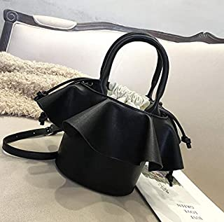 Adebie - Women Tote Bucket Bag 2019 Fashion New Quality PU Leather Women's Luxury Designer Handbag Contrast Color Shoulder Messenger Bags 19 X 14 X 18 cm Black []