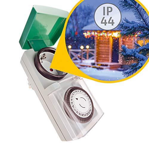 Zeitschaltuhr Aussenbereich mechanisch 1 Stück – Zuverlässig und komfortabel in Haus und Garten - Analoge Outdoor Zeitschaltuhr IP44 - Einfache Bedienung, drehen und fertig