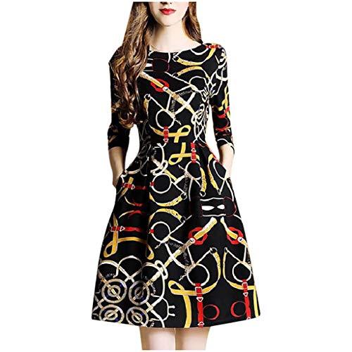 Routinfly Damen Kleid Mode O-Ausschnitt knielangen Halbarm Druck Kleid Cooles Stil Print Etuikleid Langärmliges Kleid M-3XL
