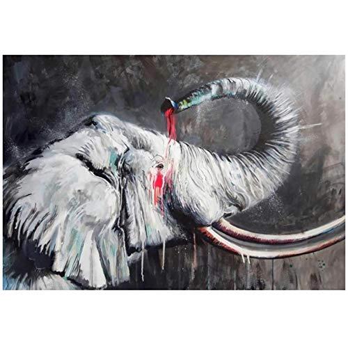 ASLKUYT Aquarell afrikanisches Elefantenölgemälde auf Leinwandplakaten und Drucken Tierwandkunstbild für Moderne...