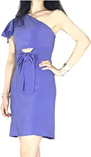 JJSHAW Summer Casual Single Shoulder Lotus Sleeve Bow Belt Cocktail Homecoming Formal Dresses for Women