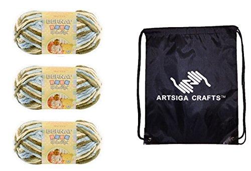 Bernat Knitting Yarn Baby Blanket Little Cosmos 3-Skein Factory Pack (Same Dyelot) 161103-3128 Bundle with 1 Artsiga Crafts Project Bag