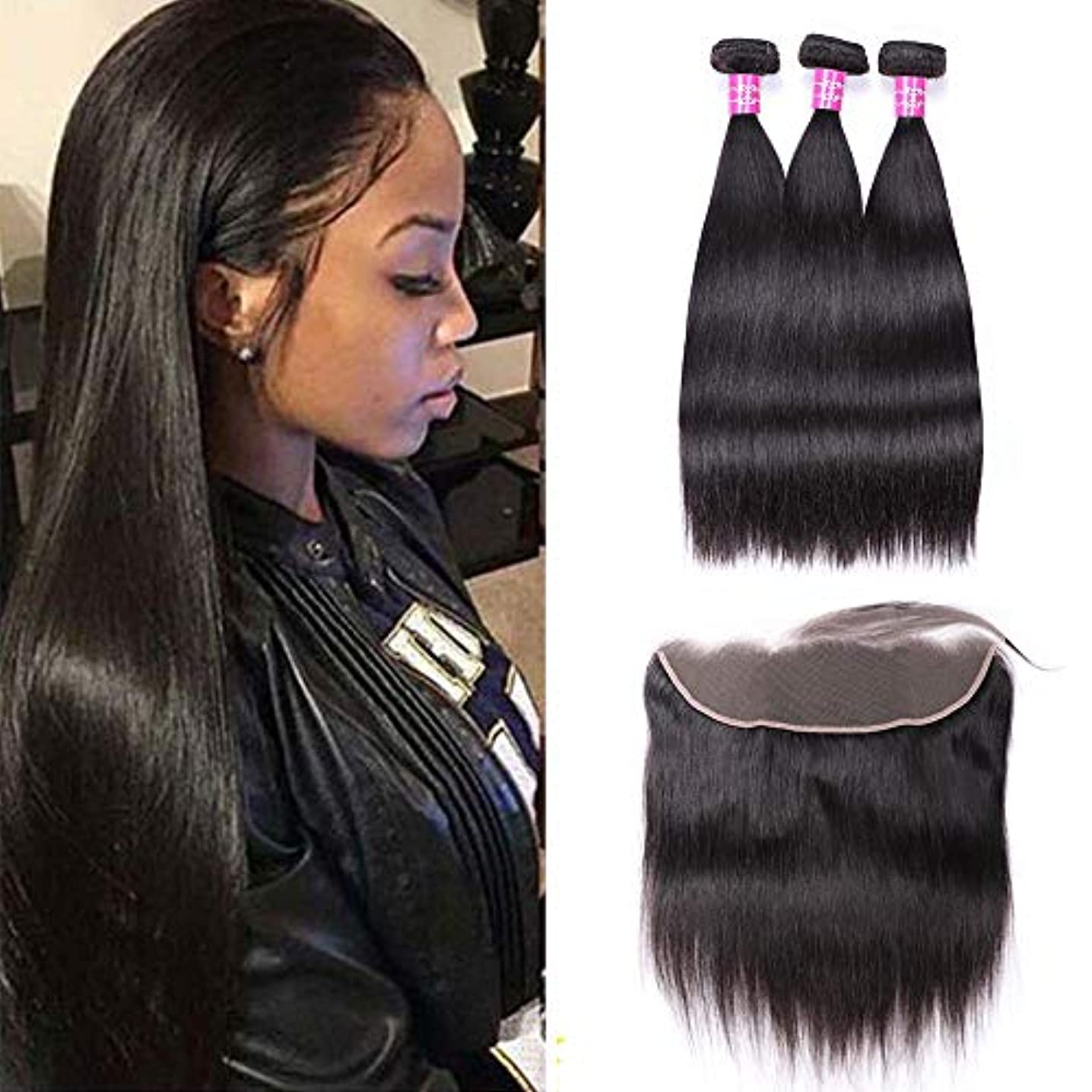 Sterly Brazilian Straight Hair 3 Bundles With Frontal Closure 13x4 Ear To Ear Lace Frontal With Bundles Unprocessed Virgin Human Hair Extensions Natural Color (12 14 16 +10)