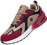 Fenlern Zapatillas de Seguridad Hombre Ligeras Zapatos de Seguridad Trabajo Punta de Acero Calzado de Seguridad con Colchón de Aire (Rojo Oro,40 EU)