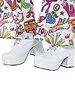 Smiffys-43074L Zapatos de Plataforma años 70 para Hombre, tacón de 7,5 cm, Color Blanco, EU Tamaño-44 (Smiffy'S 43074L)