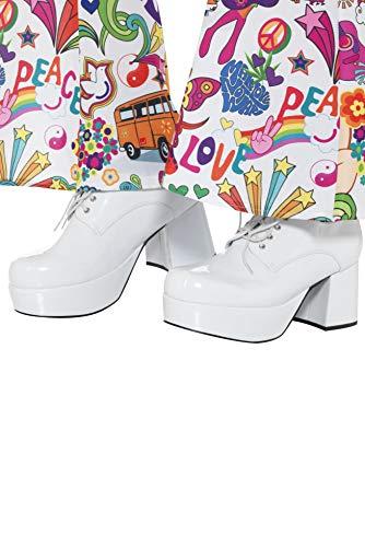 Smiffys 43074S Herren 70er Jahre Plateau Schuhe, Weiß, 42