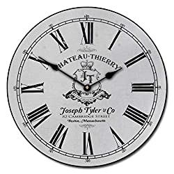 Chateau Thierry White Wall Clock, Available in 8 Sizes, Most Sizes Ship 2-3 Days, Whisper Quiet.