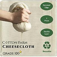チーズクロス グレード100 最高品質チーズクロス 縁かがり ダブル&シングルレイヤー 地中海綿100% 極細 再利用可能 洗える 正方形 (1枚 - 2層)