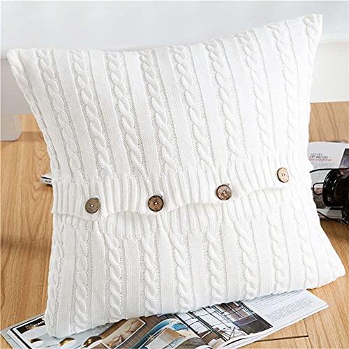 BEFAERY Funda de Almohada Tejida con Cable Funda de Almohada Decorativa de algodón, Funda de cojín para sofá, sofá y Dormitorio