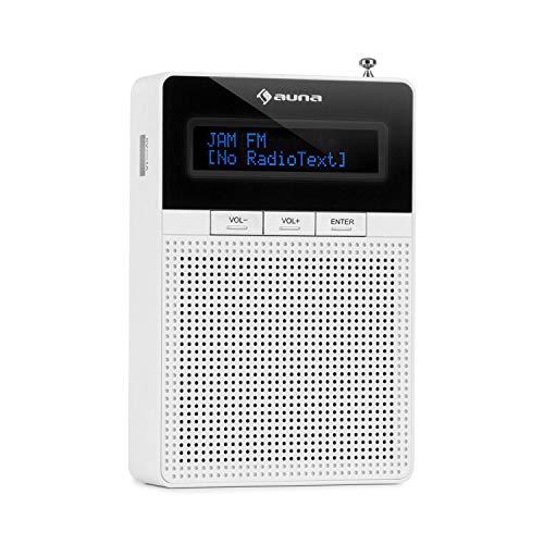 auna DigiPlug FM - Steckdosen-Radio, Radio mit RDS, UKW/PLL Tuner, Bluetooth, USB-Port, LCD-Display, mit integriertem Breitbandlautsprecher, weiß