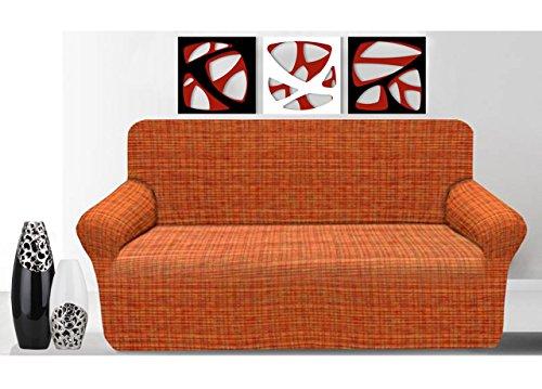BIANCHERIAWEB Copridivano in Tessuto Jacquard Elasticizzato Ottima vestibilità Modello Otello 2 Posti Arancione