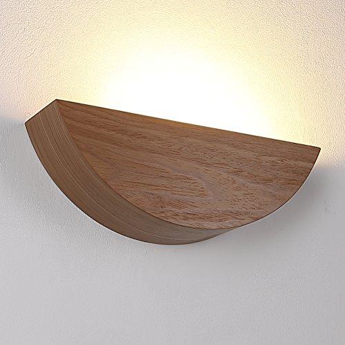 Wandleuchte aus Holz LED 6W | Holzleuchte E27 230V | Holzwandleuchte Nussbaum hell Furnierholz | Wandlampe modern 660lm | Leuchte Echtholz furniert | Holzlampe + 6W LED-Leuchtmittel 2700K