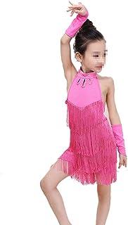 ドレスプリンセスコスチューム キッズリトルガールダンスコスチュームタッセルダンスラテンダンスドレス 肌にやさしい通気性 (色 : ピンク, サイズ : 120cm)