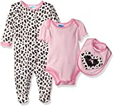 Bon Bebe Baby Girls' 3 Piece Take Me Home Set with Coverall Lap Shoulder Bodysuit and Bib, Leopard Heart, 6-9 Months