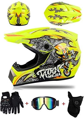 Aishengjia Casco de Motocross, Motocicletas Deportivas para niños, Casco de Enduro Todoterreno, Cascos de Motocicleta ATV MTB BMX Quad + Juego de 3 Piezas