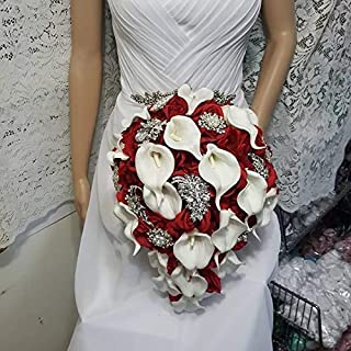 Made to order Red Roses Brooch Bouquet Wedding Bridal Flowers Silk Flowers Real Touch Calla Lilies