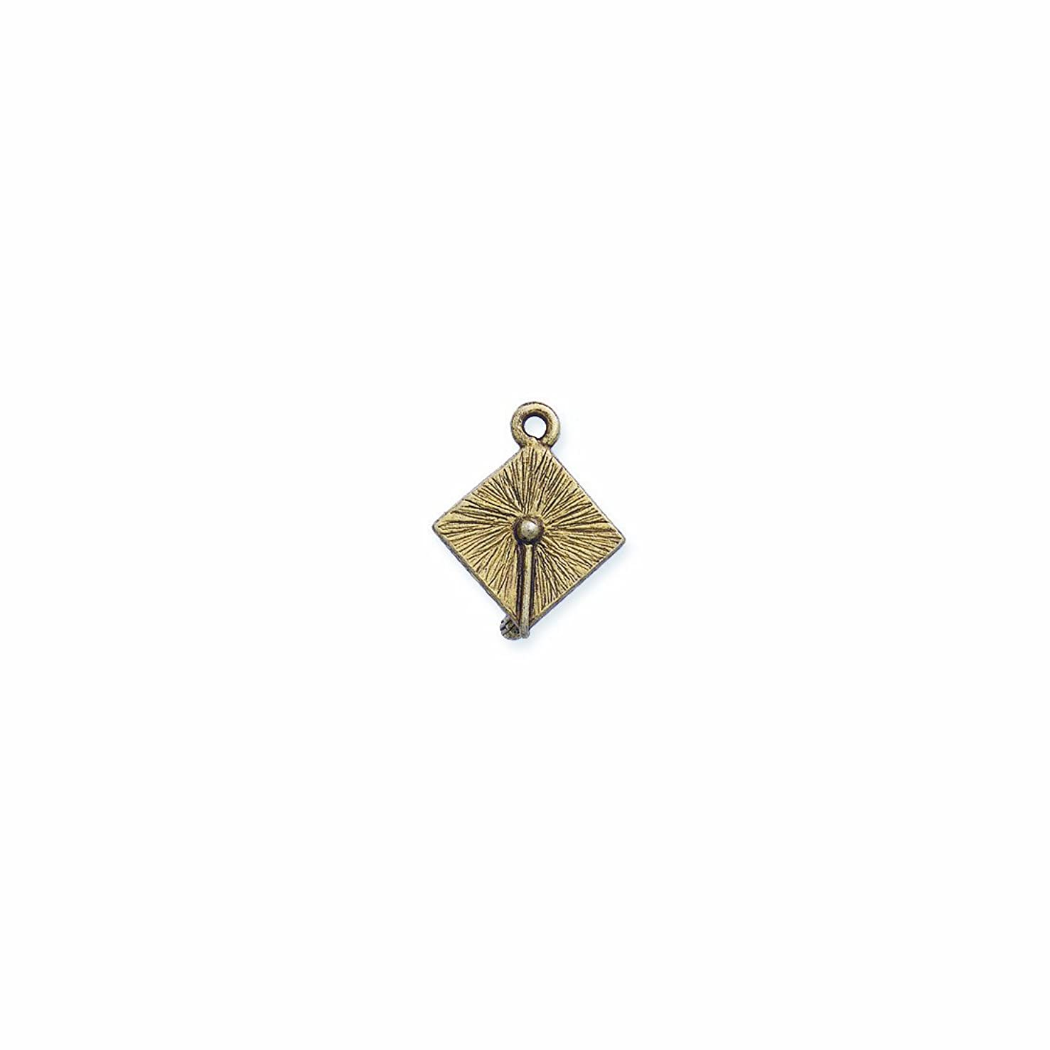 Shipwreck Beads Pewter Graduation Cap Charm, Antique Gold, 17 by 22mm, 2-Piece