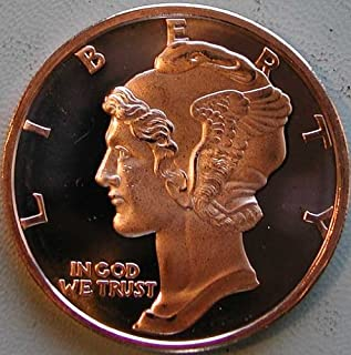 REEDERSONG 1 Ounce 2012 .999 Pure Copper Bullion Round Mercury Head Design