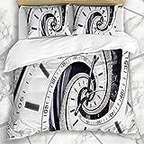 Juegos de fundas nórdicas Closeup Fractal Futuristic Modern Strass Diamond White Spinning Clock Abstract Antique Face Effect Design Relojes Ropa de cama de microfibra con 2 fundas de almohada Easy Car
