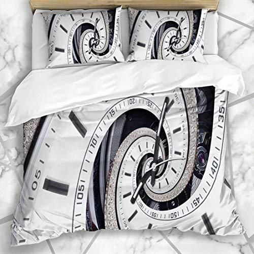 Conjuntos de Funda nórdica Closeup Fractal Futurista Moderno Strass Diamond White Spinning Clock Abstract Antique Face Effect Design Relojes Ropa de Cama de Microfibra con 2 Fundas de Almohada