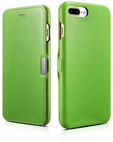Preisvergleich Produktbild Mobiskin Tasche für Apple iPhone 8 Plus und iPhone 7 Plus (5.5 Zoll),  Case mit Echt-Leder Außenseite,  Schutz-Hülle seitlich aufklappbar,  Ultra-Slim Cover,  dünne Klapphülle,  Etui,  Grün