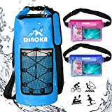 Photo Gallery dinoka borsa impermeabile, sacca impermeabile da 10l/20l/30l, kit impermeabile con zaino dry bag, waterproof phone case perfetto per kayak, canottaggio, pesca, rafting, nuoto, camping, snowboarding