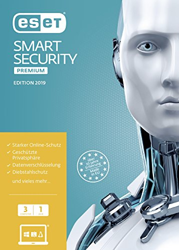 ESET Smart Security Premium 2019 | 3 User | 1 Jahr Total Protection & Virenschutz | Windows (10, 8, 7 und Vista) | Frustfreie Verpackung