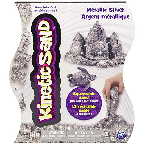 Kinetic Sand, Shimmering Metallic Silver 1lb Pack, for Ages 3 and Up (Sand Shimmer)