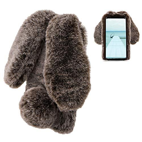 LCHDA kompatibel mit Plüsch Hülle Samsung Galaxy S9 Flauschige Hasen Fell Hülle Handyhülle Mädchen Süße Kaninchen Pelz Niedlich Hasenohren Handytasche Schützend Stoßfest TPU Silikonhülle-Braun