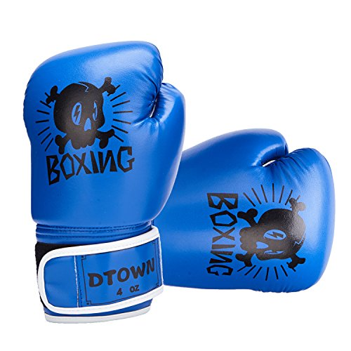 Dtown Toddler Boxing Gloves for Child 4oz Boxing Gloves for Kids Age 3 to 7 Years PU Leather Blue
