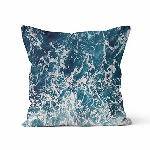 Check Out This Ocean - Blue Nature Decorative Throw Pillow with Insert (16x16)