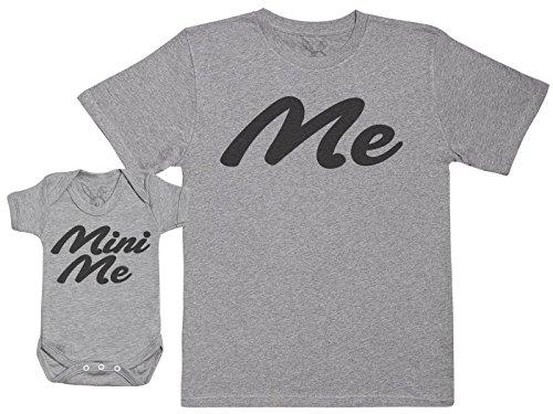 Me & Mini Me - Passende Vater Baby Geschenkset - Herren T-Shirt & Baby Strampler/Baby Body - Grau - L & 0-3 Monate