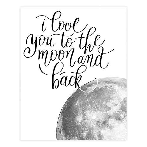 I Love You to the Moon and Back Wall Art Print - Unframed - 8x10   Nursery Decor