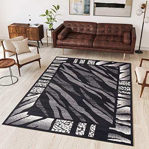 Tapiso Dream Teppich Wohnzimmer Modern Kurzflor Grau Creme Schwarz Afrika Zebra Bordüre Meliert Gästezimmer Schlafzimmer ÖKOTEX 200 x 300 cm