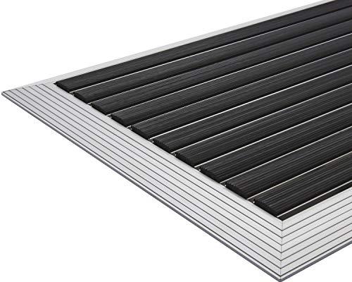 Desan - Felpudo de aluminio para puerta de entrada (22 mm, para interior y exterior, 3 tamaños), color negro, Negro , 60 x 90 cm