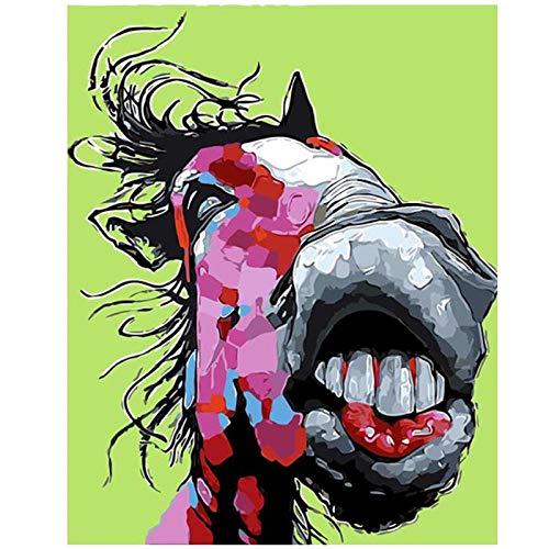 kldfig Verf door Aantal Pakket Op Canvas Schilderen Dier Abstract Paard Acryl Kleurplaten Art Muurfoto's voor Woonkamer Decor Volwassenen-40x50cm unframed