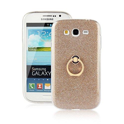 pinlu Funda Para Samsung Galaxy Grand Neo Plus/Grand Neo (i9060) Anti-Arañazos Función Flash Brillante Suave TPU Silicona Case Ultra Delgada Hebilla del Anillo Soporte Diseño Gold