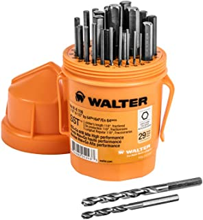 Walter Surface Technologies 01E118 Quick Shank Jobber Length Bits - 29 Piece SST Drill Bit Set with Cobalt Blend. Drilling Tools and Accessories