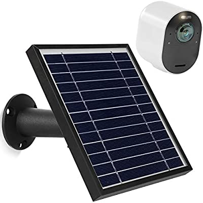 Uogw Solar Panel Charge for Arlo Pro 3 /Arlo Ultra/Ultra 2/Arlo Pro 4, with 11.5ft Waterproof Magnetic Power Cable, Adjustable Mount(Black)
