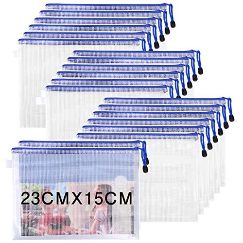 ACMETOP ファイル袋 ジッパー式 20枚 メッシュファイルバッグ PVC製 半透明 厚型 防水 ファスナ付き オフィス用品 資料 書類 整理収納 ファイルホルダー (A5)