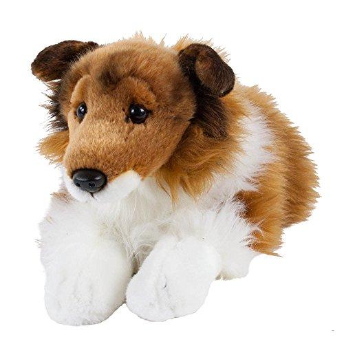 Teddys Rothenburg Kuscheltier Collie schwarz/weiß/braun liegend 45 cm (mit Schwanz) Plüschhund Plüschcollie