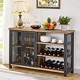BON AUGURE - Armario industrial para licor y copas, madera rústica y metal para vino, aparador acento buffet con puertas (47 pulgadas, roble vintage)
