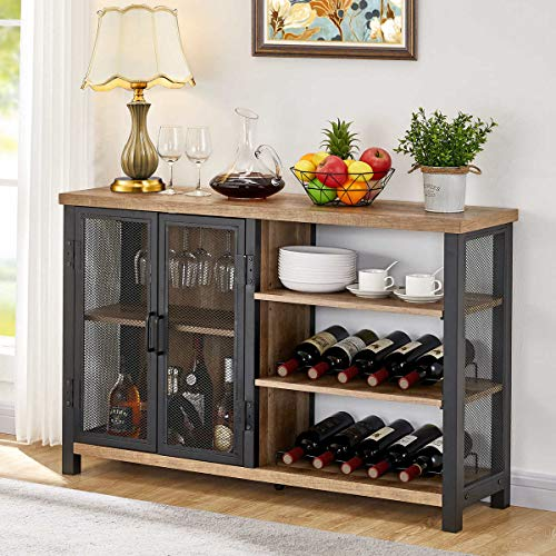 BON AUGURE Industrial Bar Cabinet for Liquor and Glasses, Rustic Wood and Metal Wine Rack Table,  Accent Sideboard Buffet with Doors (47 Inch, Vintage Oak)