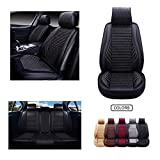 OASIS AUTO Leather&Fabric Car Seat Covers, Faux Leatherette Automotive Vehicle Cushion Cover for Cars SUV Pick-up Truck Universal Fit Set Auto Interior Accessories (OS-005 Full Set, Black)