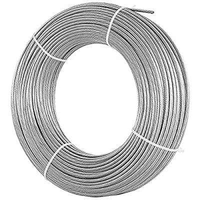 BestEquip 316 Stainless Steel Cable 250FT Stainless Steel Wire Rope 1/8 Inch 1x19 Steel Cable for Railing Decking DIY Balustrade (250FT)