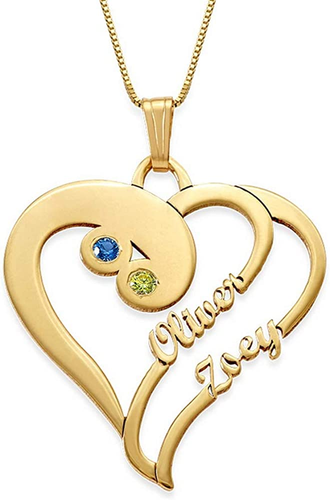 MyNameNecklace Two New Orleans Mall Hearts Max 41% OFF Forever One Cubic with Necklace Zircon